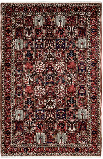 Persian Bakhtiari Garden Design 6'x10' Red Blue Area Rug