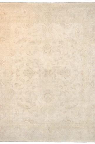 Hand Knotted Chobi 8'x10' Ivory Wool Area Rug