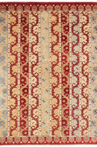 Shawl Design Hand Knotted Wool 6'x8' Red Beige Area Rug