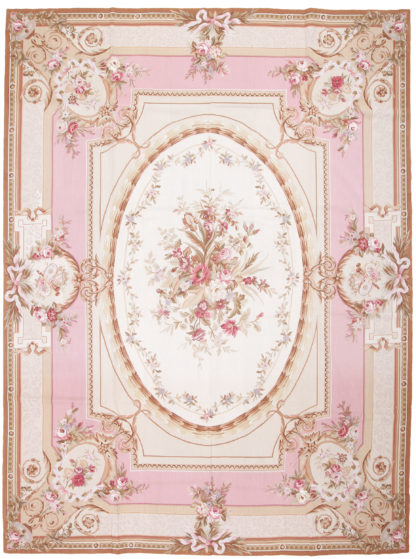 Needlepoint Aubusson Design 9'x12' Ivory Pink Area Rug