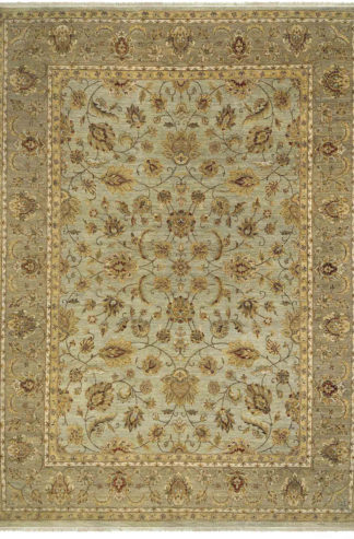 Hand Knotted Wool Jaipur 8'x10' Grey Beige Area Rug