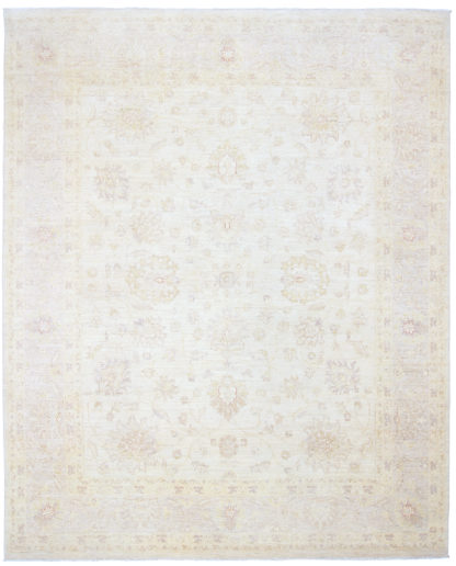 Hand Knotted Chobi 8'x10′ Ivory Wool Area Rug