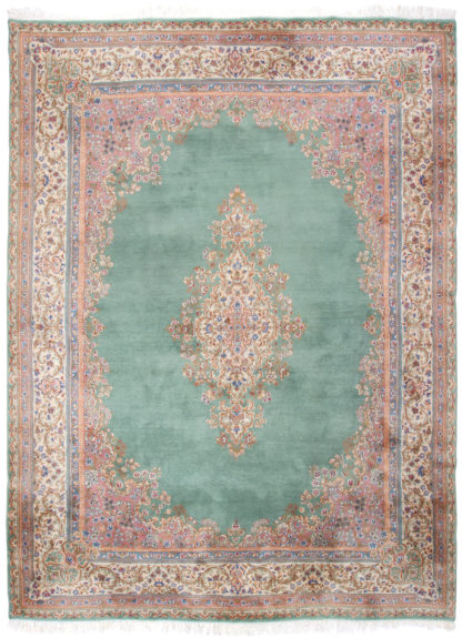 Persian Kerman Hand Knotted 9'x12' Teal Rose Area Rug