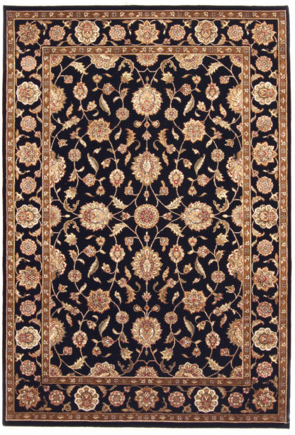 Hand Knotted Wool Silk 6'x9' Black Ivory Area Rug