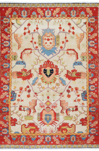 Persian Serapi 10'x12' Blue Red Ivory Wool Area Rug