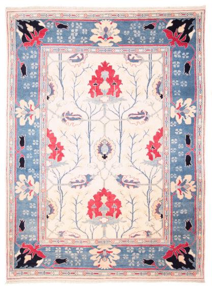 Turkish Oushak 9'x12' Blue Red Ivory Area Rug
