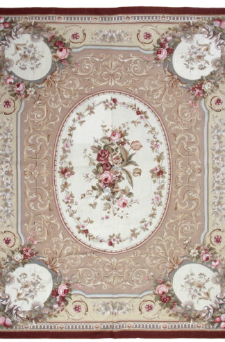 Needlepoint Aubusson Design 8'x10′ Ivory Red Area Rug