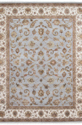 Hand Knotted Wool Silk Jaipur 8'x10′ Light Blue Ivory Area Rug