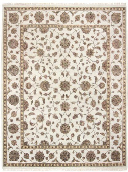 Hand Knotted Wool Silk Jaipur 8'x10′ Ivory Gold Area Rug