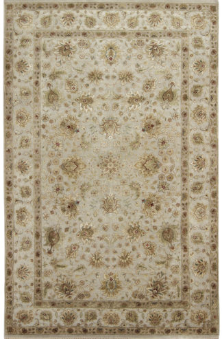 Hand Knotted Wool Silk Jaipur 6'x9′ Beige Grey Area Rug