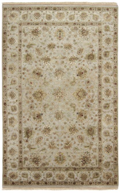 Hand Knotted Wool Silk Jaipur 6'x9′ Beige Grey Area Rug