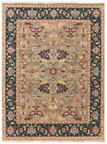 Hand Knotted Wool 8'x10' Blue Beige Area Rug