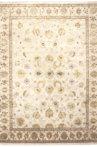 Hand Knotted Wool Silk Jaipur 9'x12′ Ivory Gold Area Rug