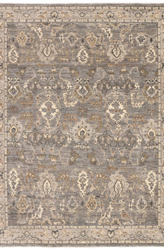 Hand Knotted Wool 8'x10' Grey Ivory Area Rug