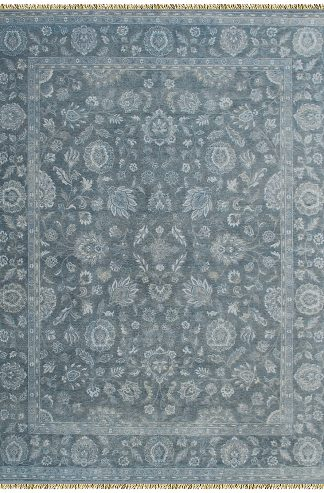 Hand Knotted Wool 8'x10' Slate Blue Area Rug