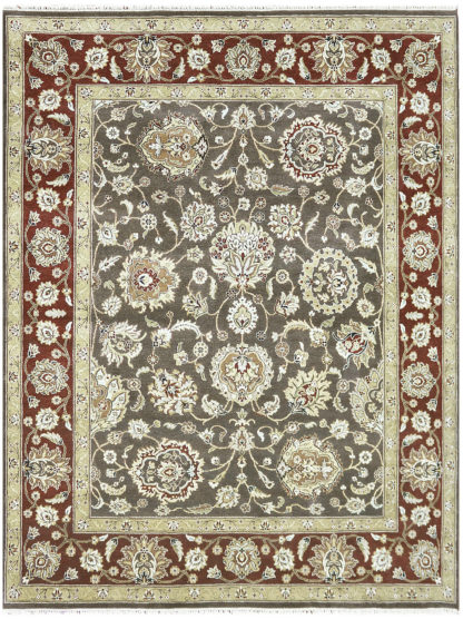 Hand Knotted Wool 8x10 Brown Red Area Rug