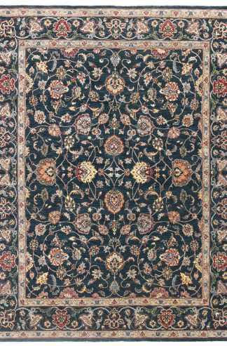 Hand Knotted Wool 8x10 Blue Beige Area Rug