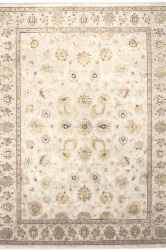 Hand Knotted 8x10 Wool Silk Ivory Gold Area Rug
