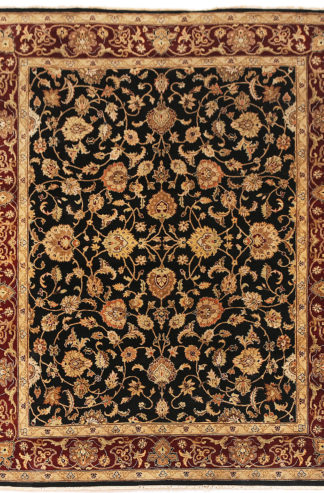 Hand Knotted Wool 9x12 Black Maroon Area Rug