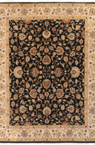 Hand Knotted Wool 8x10 Black Beige Area Rug