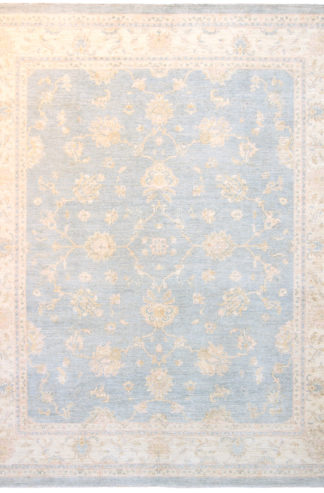 Chobi Wool 8x10 Ivory Light Blue Area Rug