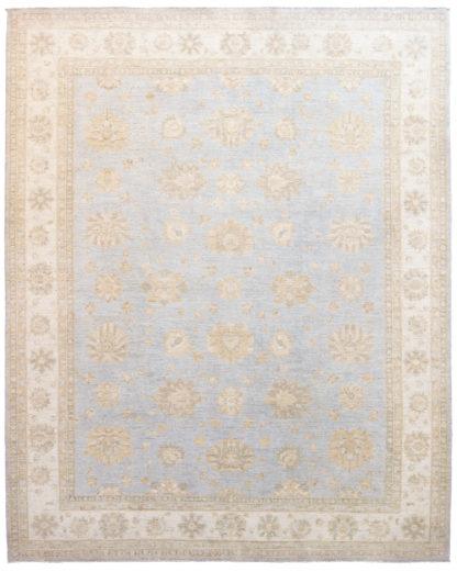 Chobi Wool 8x10 Ivory Light Blue Area Rug