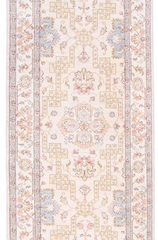 Hand Knotted Wool Runner 3x10 Ivory Area Rug