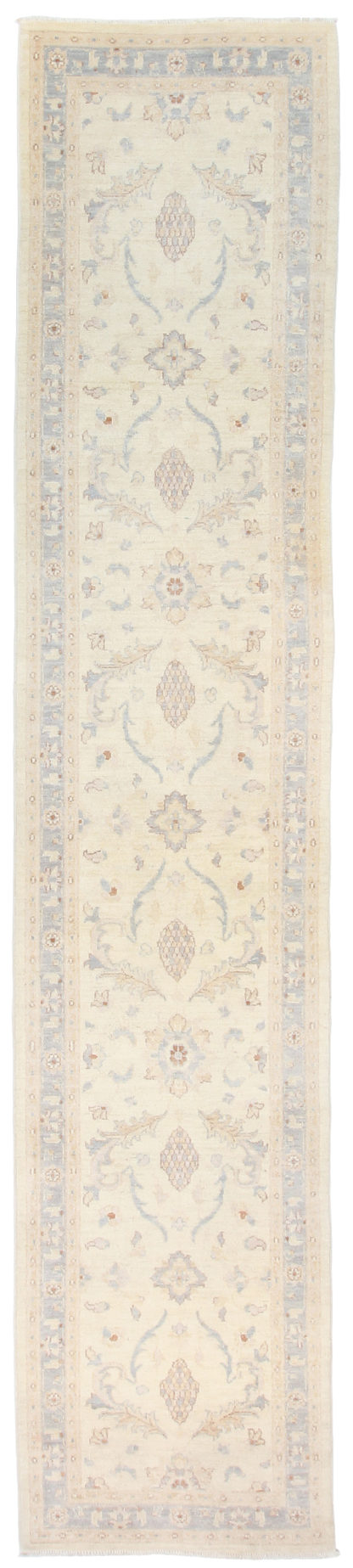 Hand Knotted Wool Runner 3x12 Ivory Light Blue Area Rug