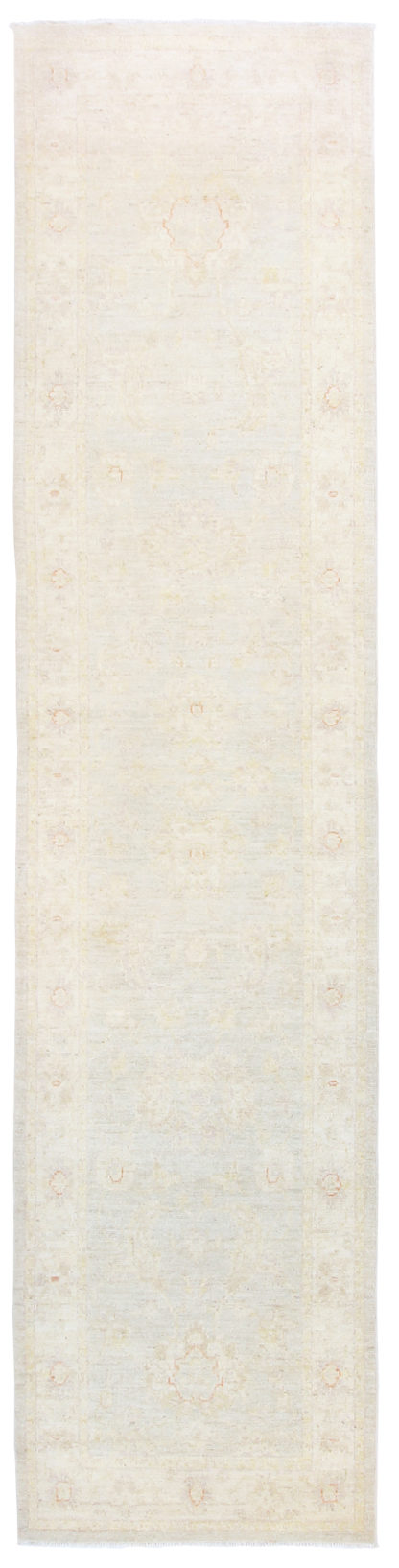 Hand Knotted Wool Runner 3x11 Ivory Area Rug