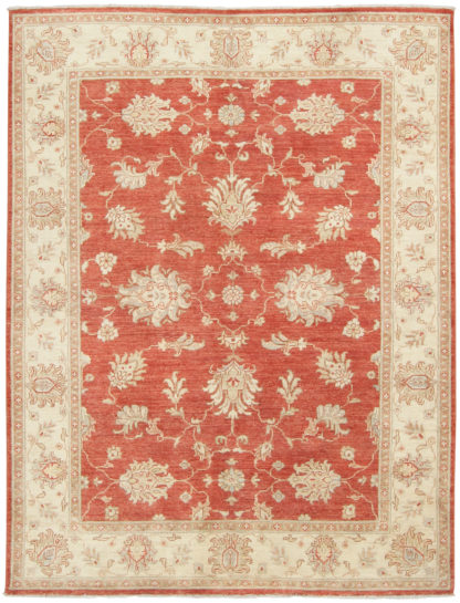 Hand Knotted Wool Chobi 4x6 Beige Rust Area Rug