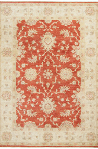 Hand Knotted Wool Chobi 5x7 Beige Rust Area Rug