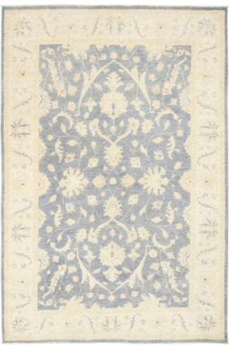 Hand Knotted Wool Chobi 5x8 Ivory Grey Blue Area Rug