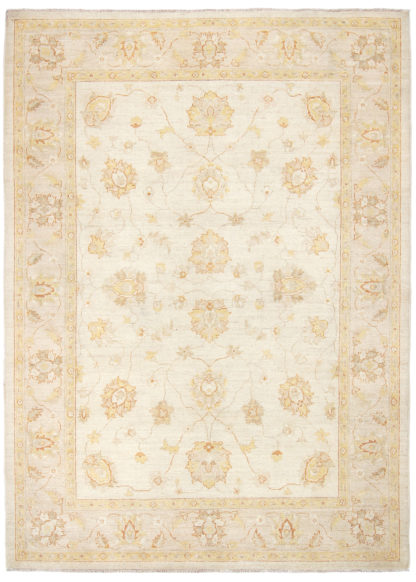 Hand Knotted Wool Chobi 5x8 Ivory Beige Area Rug