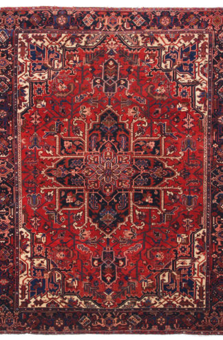 Persian Heriz Hand Knotted 8x11 Red Blue Area Rug