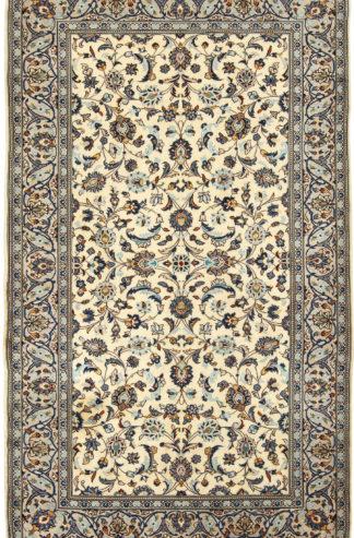 Fine Persian Kashan 5x8 Ivory Blue Ivory Blue Area Rug