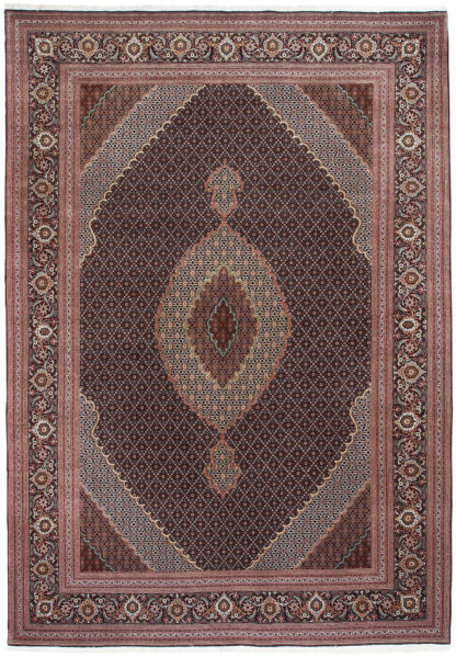 Persian Tabriz Mahi 8x12 Black Brown Area Rug