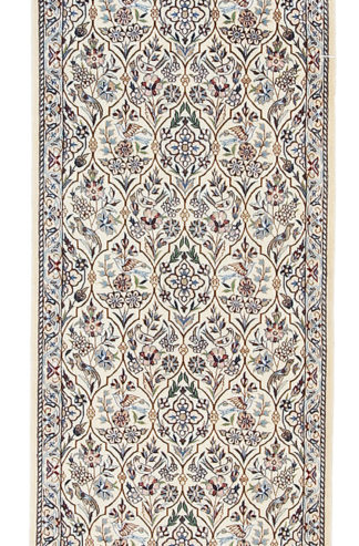 Persian Nain Wool Silk Runner 2x13 Ivory Blue Area Rug