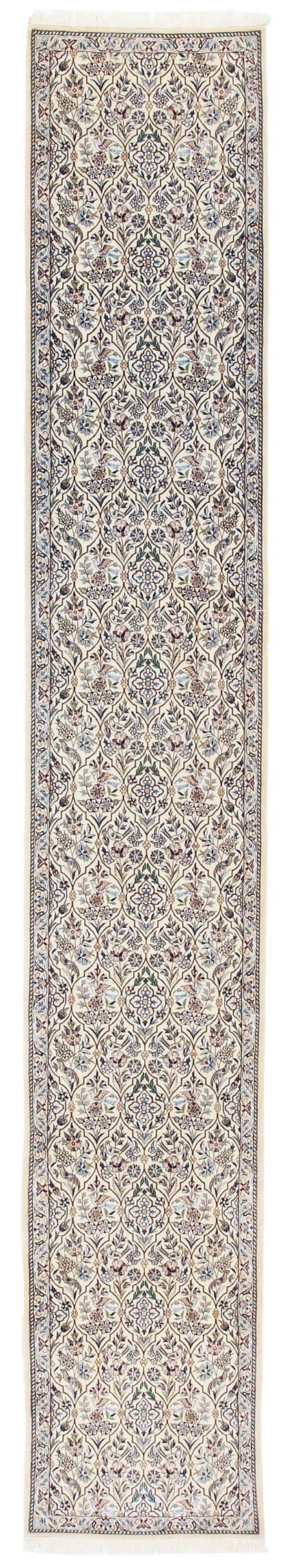 Persian Nain Wool Silk Runner 2x13 Ivory Blue Area Rug
