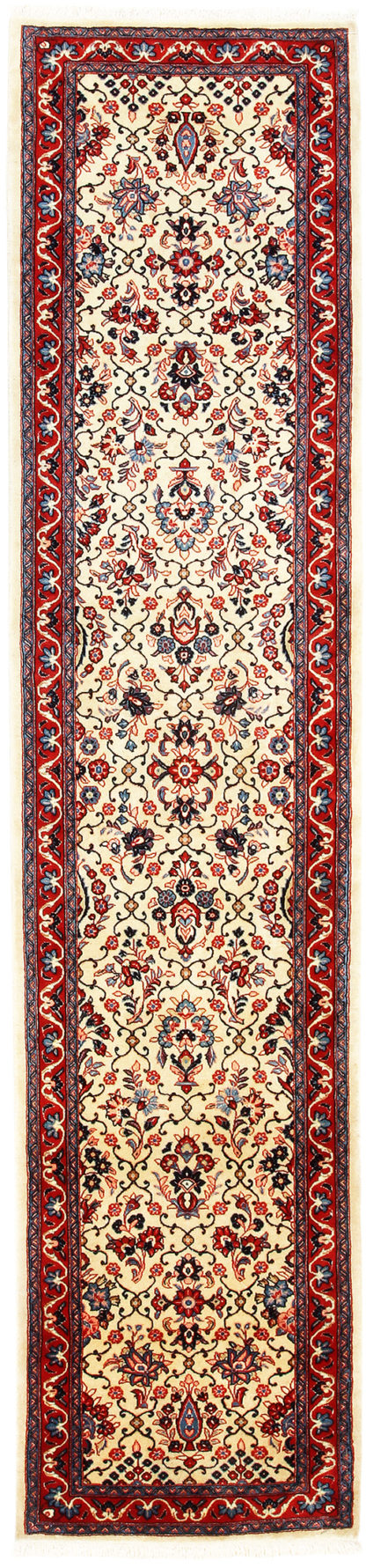 Fine Persian Sarouk Runner 3x12 Ivory Red Area Rug
