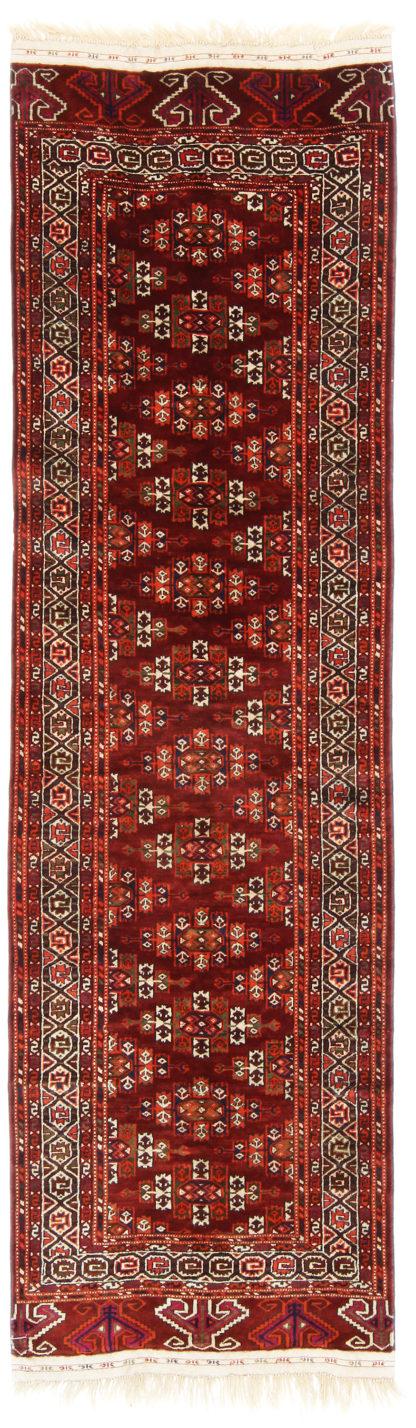 Turkmen Yomut Wool Runner 3x9 Red Brown Area Rug