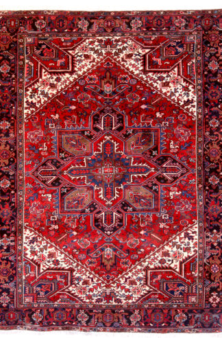 Persian Heriz Wool 8x10 Red Ivory Area Rug