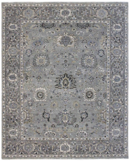 Hand Knotted Wool 8x10 Grey Transitional Area Rug