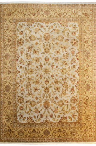 Fine Hand Knotted Wool 10x14 Beige Ivory Area Rug
