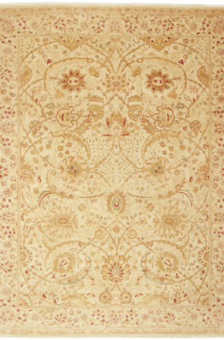 Hand Knotted Wool 9x12 Beige Rose Area Rug