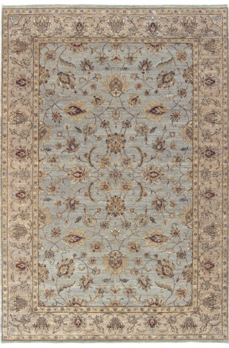 Hand Knotted Wool 6x9 Grey Beige Area Rug
