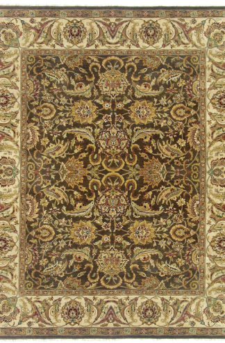 Hand Knotted Wool Jaipur 10x14 Brown Beige Area Rug