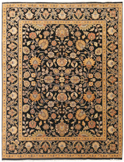 Hand Knotted Wool Jaipur 8x10 Black Gold Area Rug