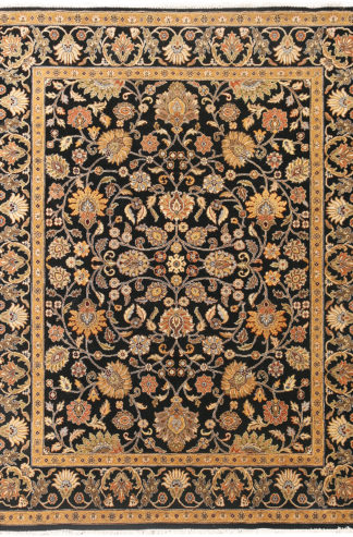 Hand Knotted Wool Jaipur 9x12 Black Gold Area Rug