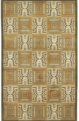 Hand Knotted Panel Tibetan 8×11 Wool Silk Area Rug