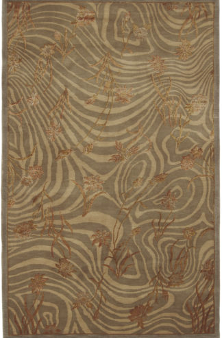 Hand Knotted Tibetan 5x8 Wool Silk Area Rug